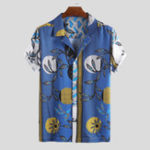 New Men Tile Print Short Sleeve Revere Shirts