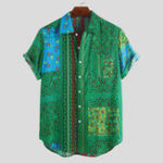 New Mens Summer Ethnic Floral Printed Breathable Casual Shirts