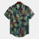 New Mens Summer Tropical Printed Loose Short Sleeve Casual Shirt