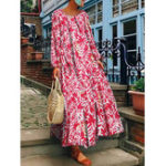 New Women Vintage Long Sleeve Crew Neck Floral Print Maxi Dress