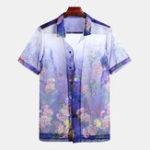 New Mens Holiday Summer Floral Printed Short Sleeve Casual Shirt