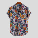 New Men Art Square Print Short Sleeve Relaxed Shirts
