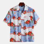 New Men Floral Print Short Sleeve Hawaiian Shirts