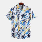 New Mens Summer Fashion Painted Printing Short Sleeve Shirts
