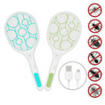 New Electric Fly Swatter Fly Bug Zapper Racket Mosquito Swatter Pest Insects Control USB Rechargeable LED Lighting Pests Control