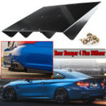 New Universal ABS Car Rear Bumper 4 Fins Diffuser Protector Auto Modification Spoiler 22″ x 21″ Black
