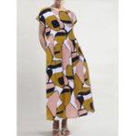 New Women Short Sleeve O-neck Floral Print Midi Dress