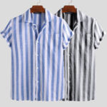 New Mens Summer Short Sleeve Striped Shirts