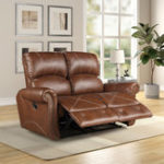 New PU Leather Reclining Loveseat Living Room Recliner Gliding Loveseat Sofa Chair Leather Sofa