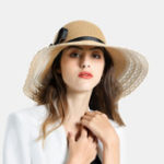 New Woman Black Bud Ribbon Bow Visor Seaside Vacation Straw Hat