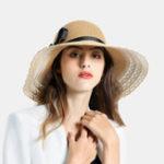 New Woman Black Bud Ribbon Bow Visor Seaside Vacation Straw Hat