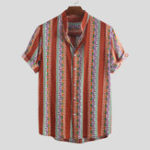 New Mens Summer Color Block Stripe Printed Casual Shirts