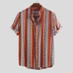 New Mens Summer Color Block Stripe Printed Casual Shirts