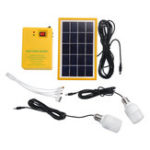 New Solar Panel Generator System Portable Home Kit LED Light USB Charger W/ 2 Bulbs