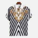 New Mens Ethnic Stripe Buttons Fly Turn Down Collar Casual Shirt