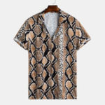 New Men Python Leopard Mixed Print Short Sleeve Revere Shirts