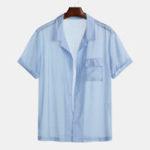 New Mens Summer Breathable Practical Pocket Casaul Shirts