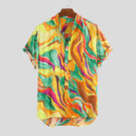 New Mens Summer Colorful Graffiti Printed Holiday Shirts