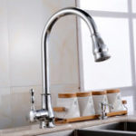 New Kitchen Sink Faucet Led Light Rotatable Spout Pull Out Down Spray Waterfall Nickel Brushed Deck Mount Collapsible Mixer