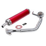 New 22MM Inlet Round Bent Outlet Exhaust Muffler Tip End Tail Pipe with GY6 Front Pipe Kit Rear