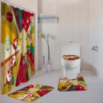 New Christmas Santa Claus Non-Slip Toilet Seat Cover Carpet Mats Shower Curtain Set