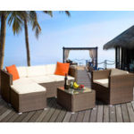 New TOPMAX 4Pcs Rattan Patio Furniture Set Wicker Sofa Cushioned Sectional Furniture Set Garden Patio Sofa Set
