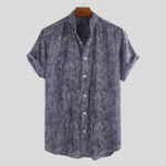 New Mens Ethnic Summer Stripe Breathable Casual Shirts