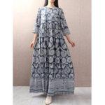 New Women Vintage Loose 3/4 Sleeve O-Neck Side Pockets Dress