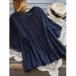 New Women Solid Color Half Sleeve -O-Neck Stripe Blouse