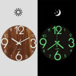 New 12″ Luminous Wall Clock Quartz Wooden Silent Non Ticking Dark Home Room Decor