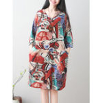 New Women V-Neck Printed 3/4 Sleeve Side Pockets Dress
