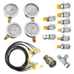 New 10/25/40/60mpa Hydraulic Pressure Guage Test Kit with 4pcs Oil Gauge Test Hose