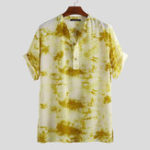 New Mens Tie-dye Tops Summer Soft Loose Comfortable Henley Shirt
