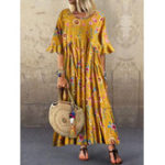 New Half Sleeve O-neck Pleated Floral Print Vintage Maxi Dress