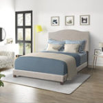 New Queen Size Wilshire Upholstered Linen Nail Head Trim Platform Bed with Slat Suppor Double Bed