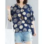 New Casual Women Half Sleeve Printed Polka Dot V-Neck Blouse