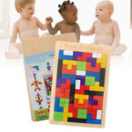New Baby Wooden Tetris Puzzles Blocks Toys Kids Children Toddlers Educational Preschool Game Jigsaw Puzzle Toy Desktop Casual Kids Toy