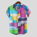 New Men Color Block Dot Short Sleeve Hawaiian Shirts