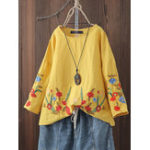 New Women Cotton O-neck Floral Embroidery Vintage Blouse