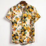 New Mens Summer Floral Printed Turn Down Collar Casual Shirts