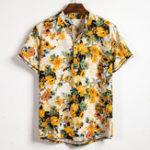 New Mens Summer Floral Printed Turn Down Collar Casual Shirts