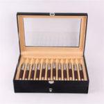 New 24 Pens Fountain Display Case Holder PU Leather Storage Collector Organizer Box Desktop Organizer