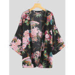New Women Casual Floral Print 3/4 Sleeve Cardigans