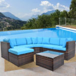 New TOPMAX 5Pcs Patio Furniture Set Outdoor Sectional Conversation Set with Soft Cushions Fabric Sofa