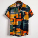 New Mens Color Blocks Painting Summer Printing Henley Shirts