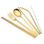 New Golden Stainless Steel Spoon Fork Straw Set Chopsticks with Cleaning Brush
