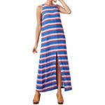 New Women Sleeveless Stripe O-neck High Split Dress