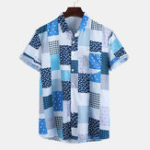 New Men Square Print Short Sleeve Relaxed Shirts