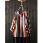 New Women O-Neck 3/4 Sleeve Striped Blouse