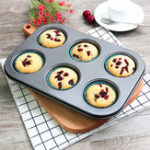 New 6pc Muffin Pan Baking Cooking Tray Mould Round Bake Cup Cake Gold/Black